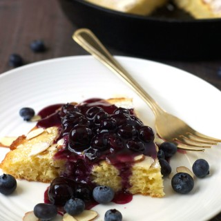 Sour Cream Skillet Pancake with Blueberry Sauce