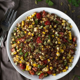 Strawberry Corn Quinoa Salad with Chipotle Chia Dressing