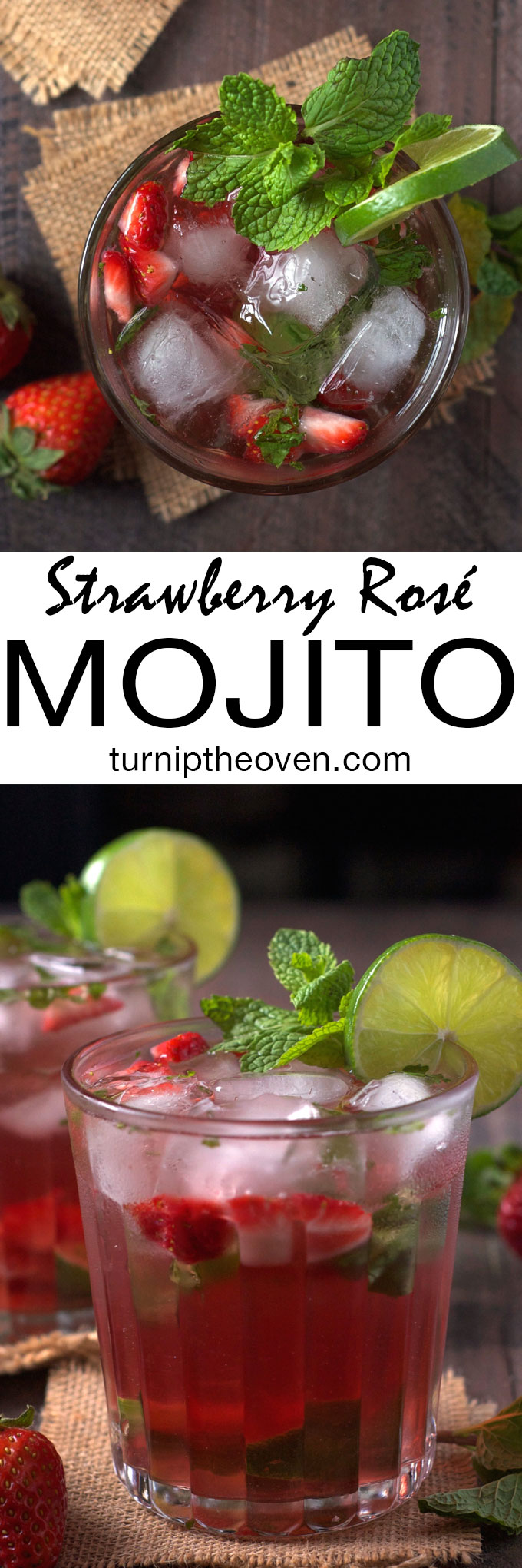 This fizzy, fruity mojito is made with muddled strawberries and rosé wine. With only six simple ingredients, it's the perfect warm weather cocktail!