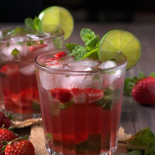 Strawberry Rose Wine Mojito