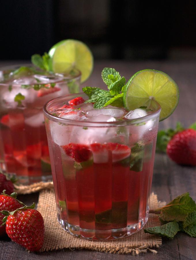 Strawberry Rose Wine Mojito