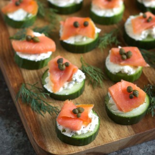 Everything Bagel Cucumber Bites with Smoked Salmon