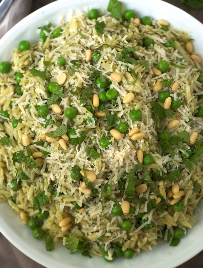 Orzo with Mint Pesto and Peas