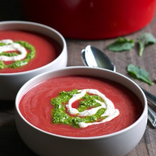 Chilled Tomato Beet Soup with Cashew Kale Pesto