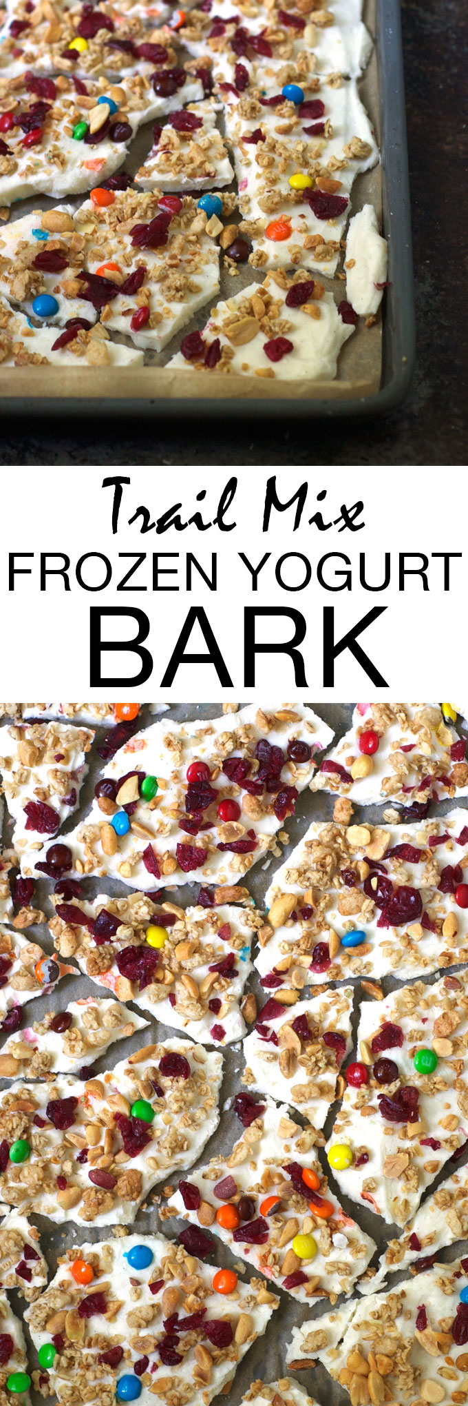 Trail Mix Frozen Yogurt Bark is the perfect healthy, whole food snack! Creamy Greek yogurt is swirled with honey and vanilla and sprinkled with granola, peanuts, dried cranberries, and M&Ms. Then just pop in the freezer for a couple of hours and enjoy!