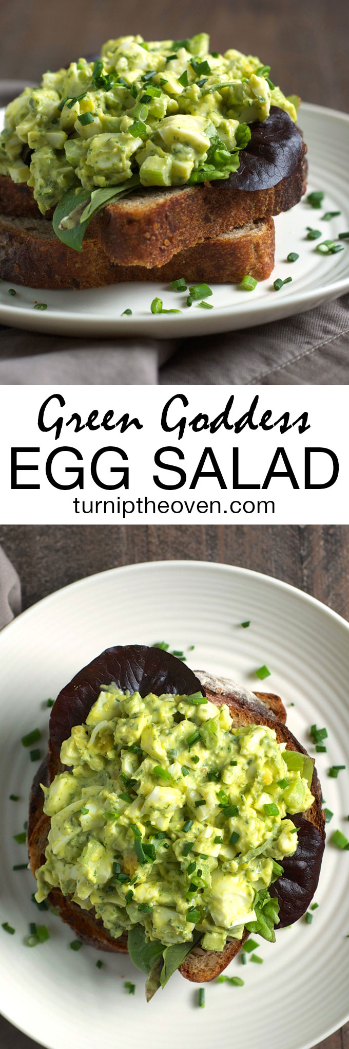 Creamy, savory green goddess dressing is the perfect way to punch up ordinary egg salad! This healthy, real food recipe is the perfect breakfast, brunch, or lunch dish.
