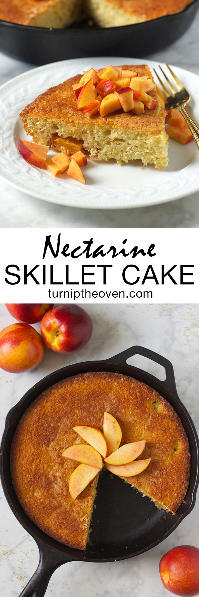 This simple, rustic skillet cake is bursting with juicy ripe nectarines. It's the perfect simple, summer dessert--or breakfast!