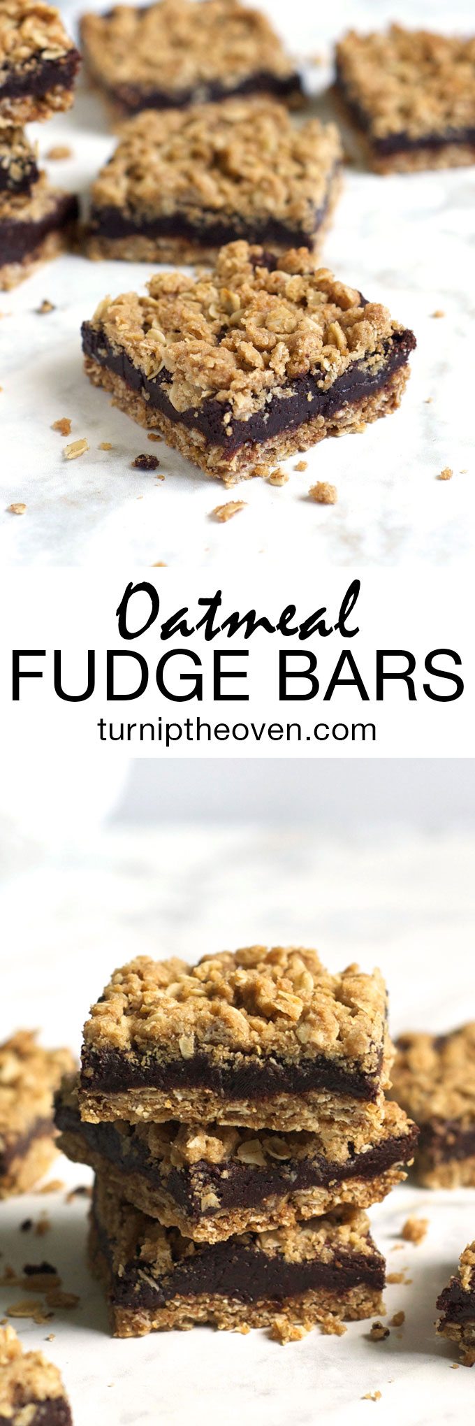 These whole wheat oatmeal fudge bars make the perfect dessert, any time of the year! A crispy oatmeal cookie forms the base and topping, and the middle is rich, gooey fudge. Pass the milk!