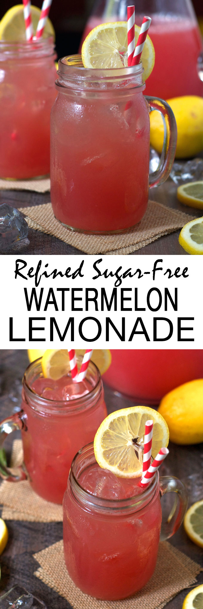 This healthy, refined sugar-free watermelon lemonade is made with only three simple, natural ingredients! Sweet, tart, and totally refreshing, it's the ultimate summer drink!