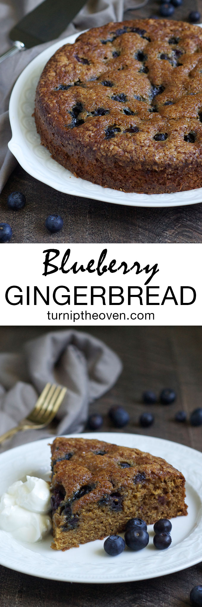 This blueberry gingerbread is the perfect late summer/early fall dessert. Moist, tender cake, lightly spiced with cinnamon and bursting with juicy blueberries!