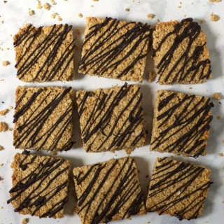 Crunchy Maple Peanut Butter Granola Bars with Chocolate Drizzle