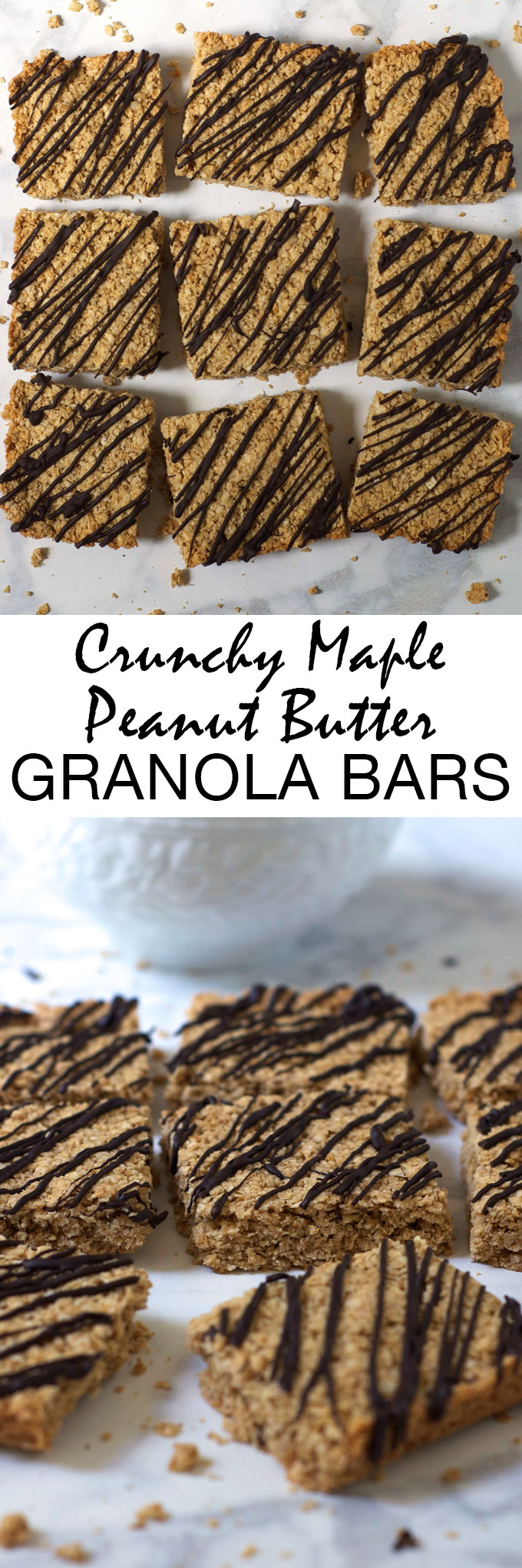 These extra crispy and crunchy maple peanut butter granola bars are gluten-free and made with simple, real food ingredients. The perfect healthy breakfast or snack!