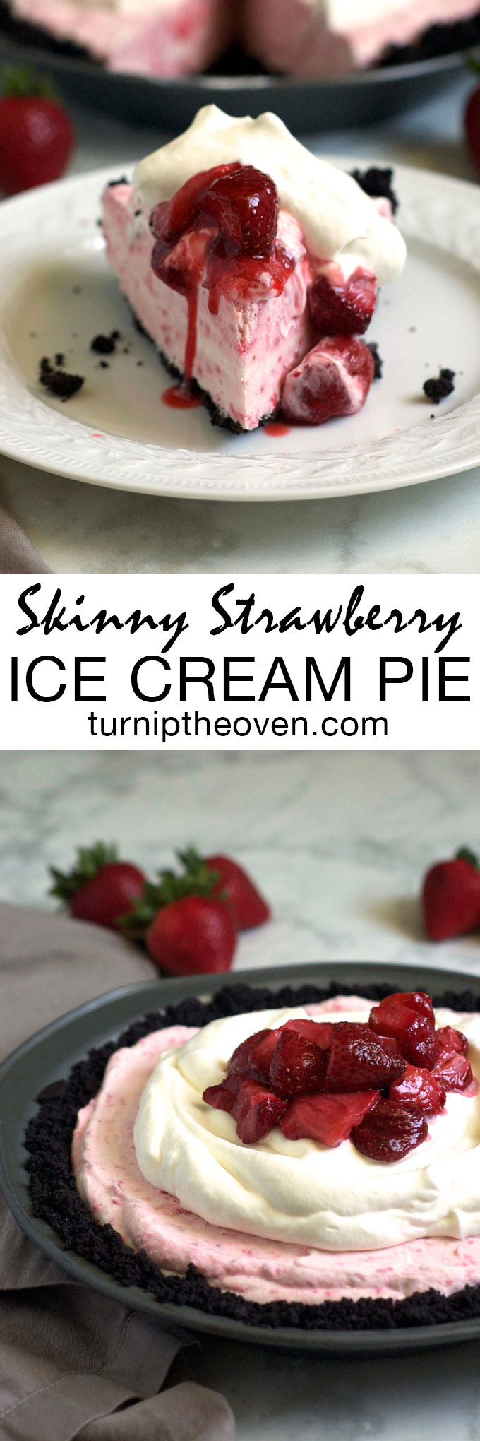 This luscious strawberry ice cream pie is made with Greek yogurt! With only 7 easy ingredients, it comes together in a snap and makes the perfect healthy and showstopping summer dessert!
