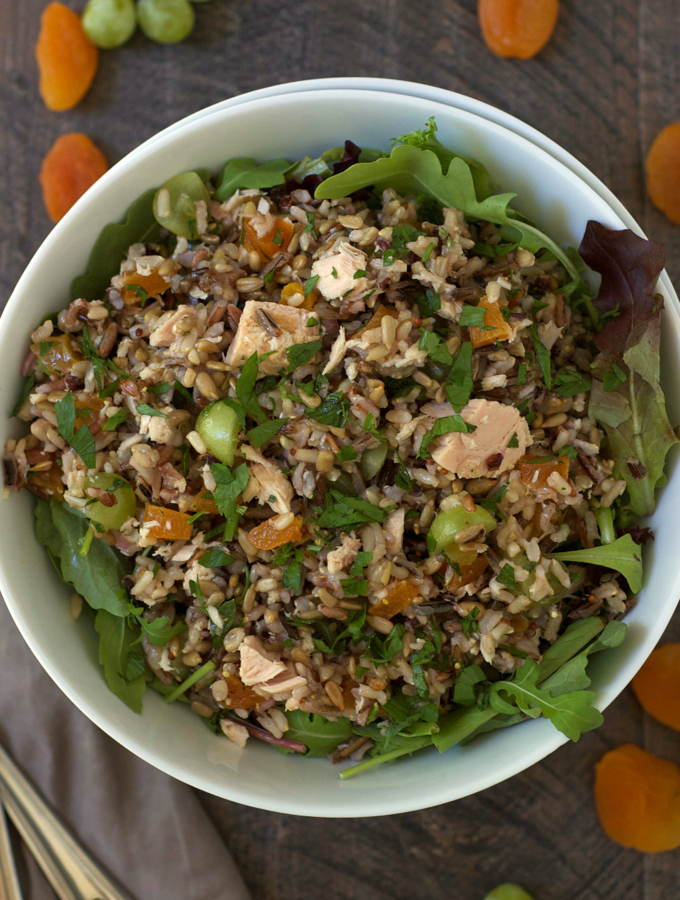 Tuna and Wild Rice Salad with Grapes and Apricots