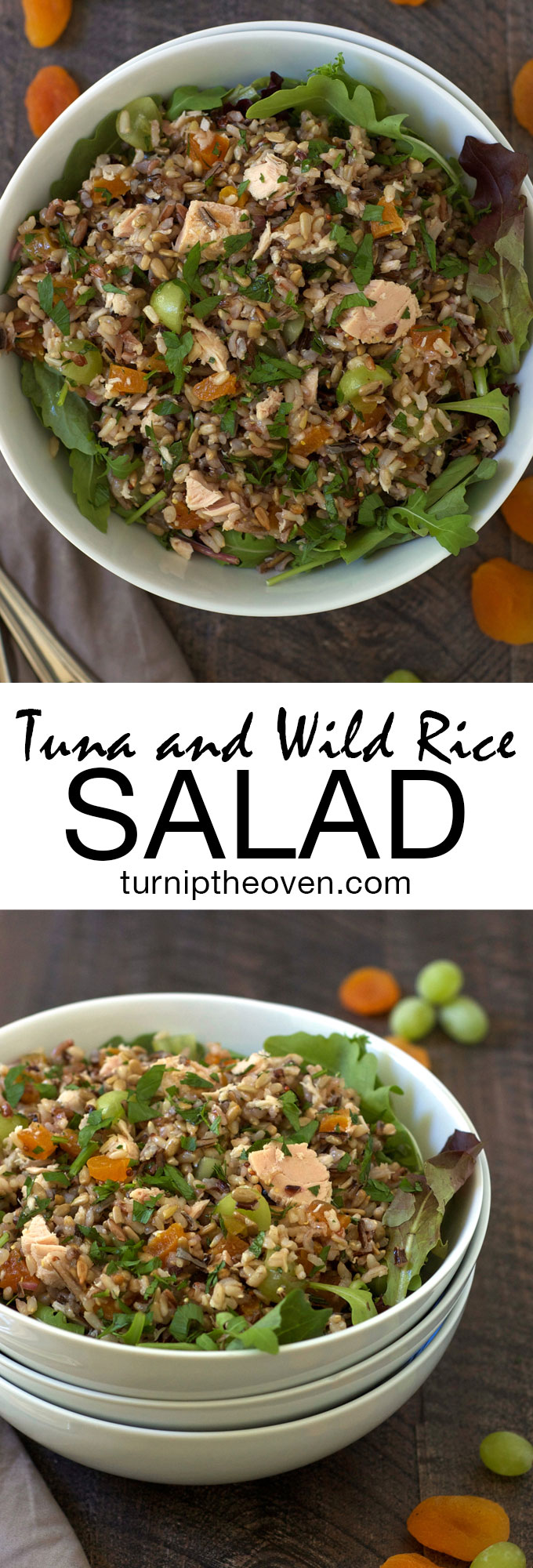 Tuna and Wild Rice Salad -- Made with Bumble Bee Tuna, juicy grapes, chewy apricots, and crunchy sunflower seeds, this satisfying, healthy, gluten-free salad is the perfect weekday lunch! #OnlyAlbacore #CG