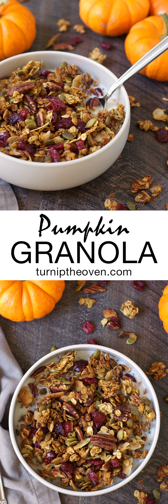 Pumpkin Granola -- This healthy, gluten-free granola is bursting with delicious fall ingredients like pumpkin puree, toasted nuts, dried cranberries, and warm spices!