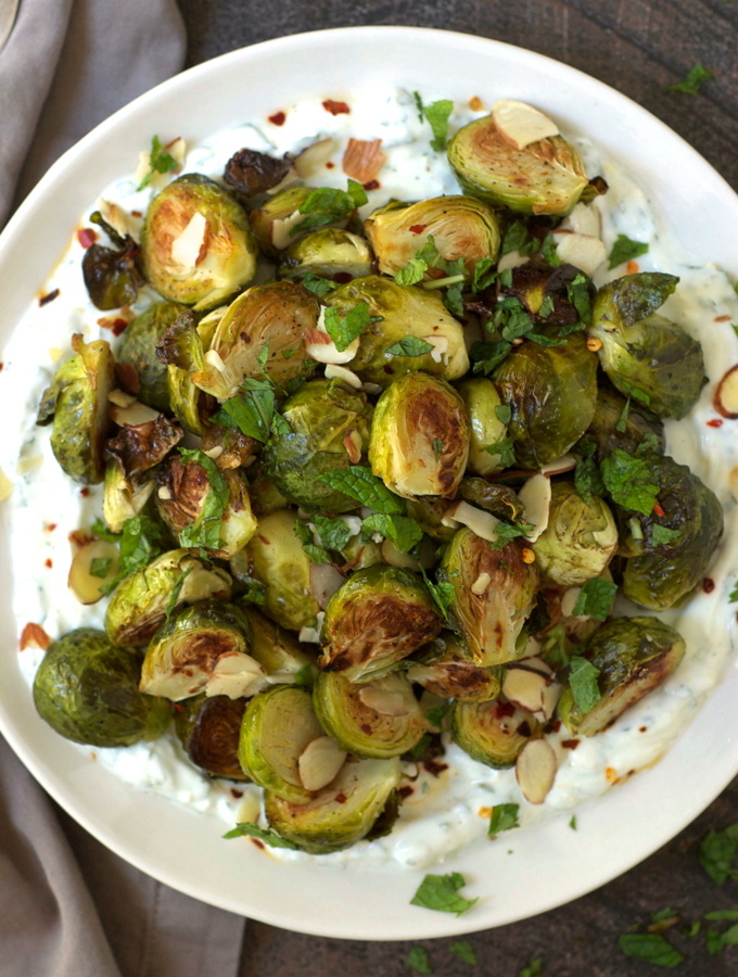 Roasted Brussels Sprouts with Lemon Yogurt
