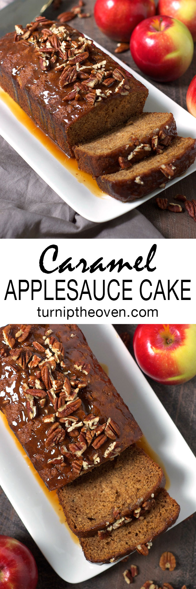 This simple, homey caramel applesauce cake has caramel sauce swirled in the batter and poured over the top! It's the ultimate fall dessert.