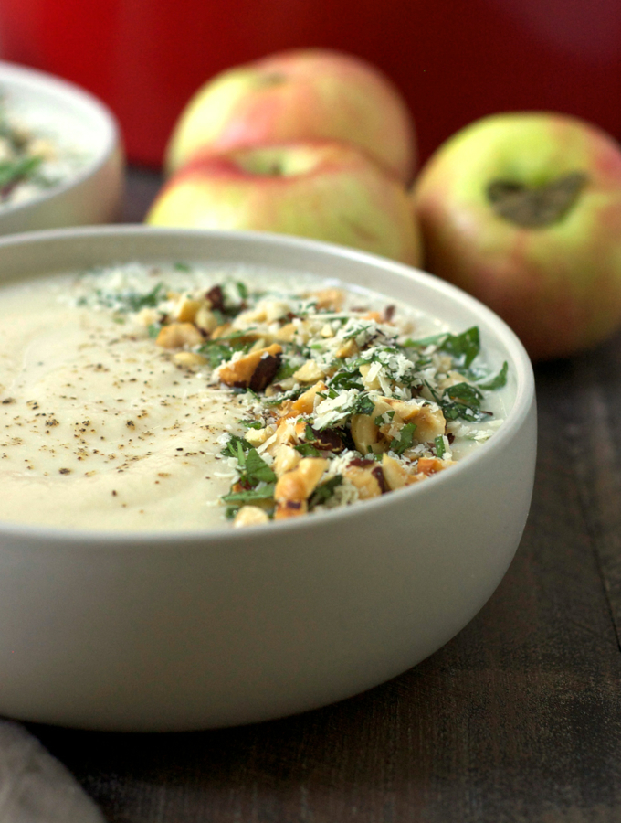 Cauliflower Cider Soup with Hazelnut Parmesan Gremolata