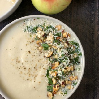 Apple Cider Cauliflower Soup with Hazelnut Parmesan Gremolata