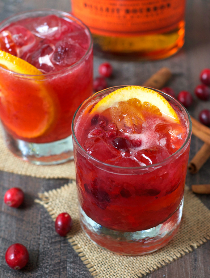 Three Ingredient Cranberry Bourbon Cocktail