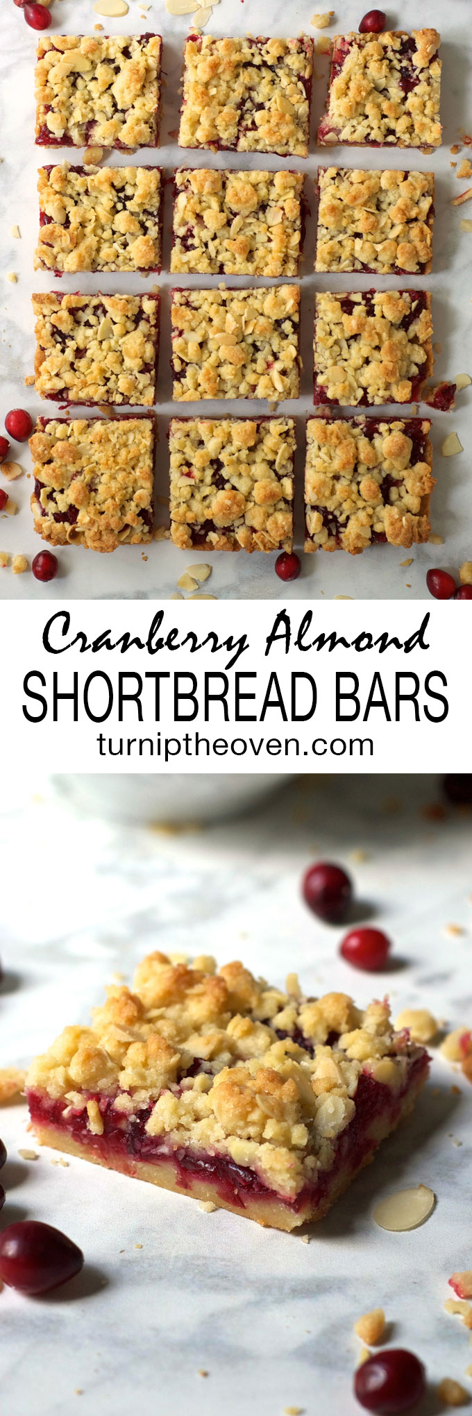 Cranberry Almond Shortbread Bars -- these simple, buttery, sweet-tart cranberry shortbread bars are the perfect holiday dessert!
