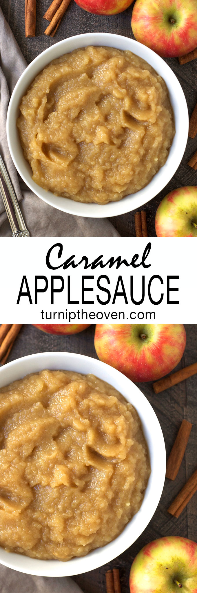 This easy homemade caramel applesauce is made with just five simple ingredients. Try it for breakfast over waffles or pancakes, or for dessert over vanilla ice cream!