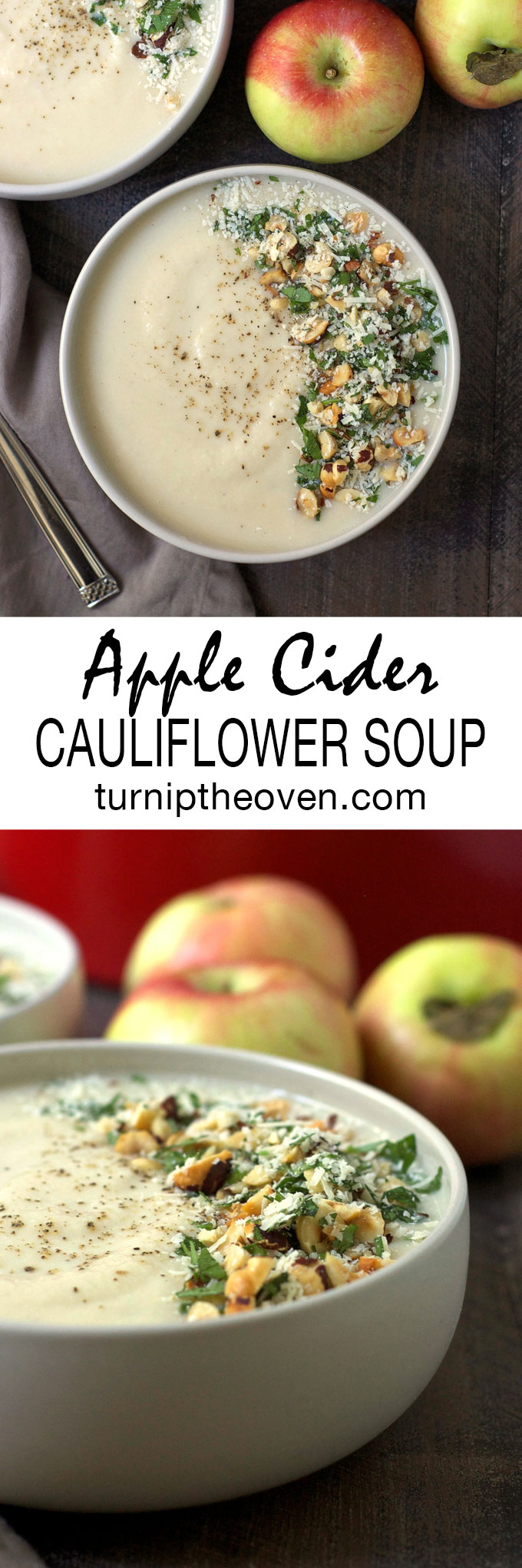 Apple cider and cauliflower are a perfect pairing in this simply, silky soup. Gluten-free, vegetarian, and freezer-friendly!