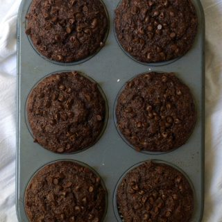 Small Batch Healthy Chocolate Banana Muffins