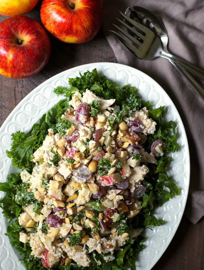 Chicken Quinoa Waldorf Salad with Kale