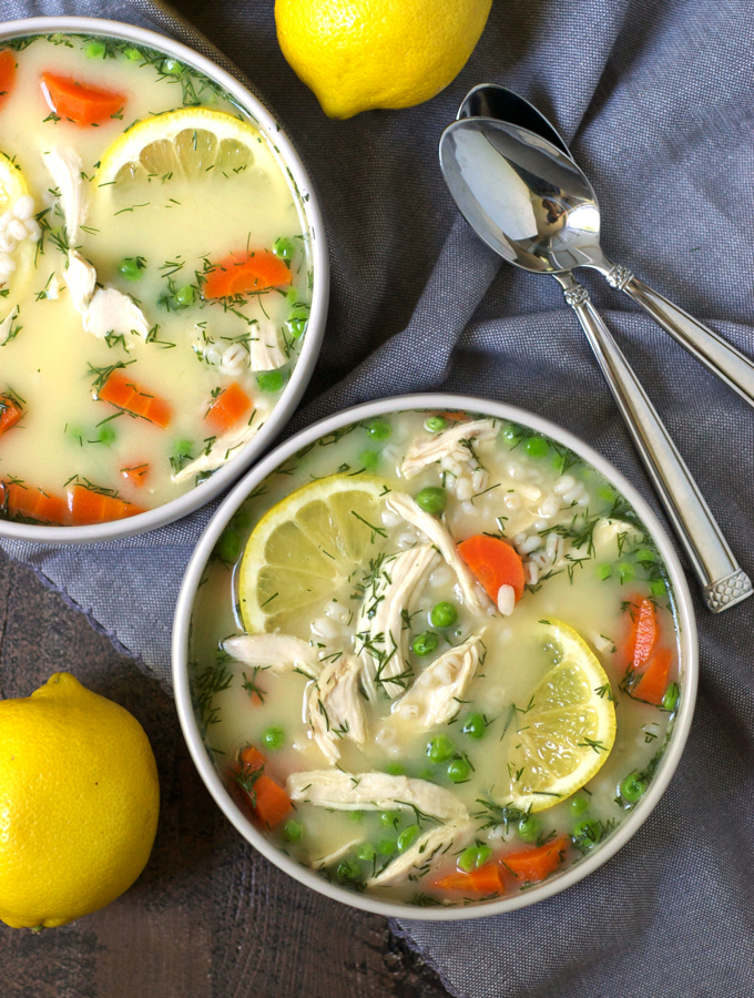 Vegetable Barley Avgolemono (Greek Lemon Chicken Soup)