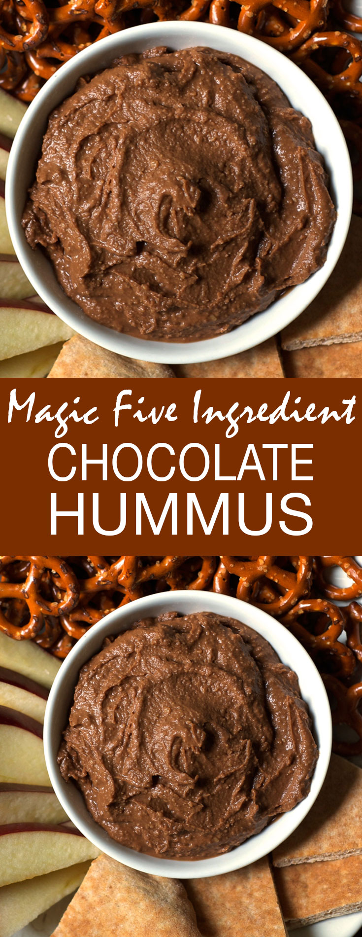 This Magic Five Ingredient Chocolate Hummus is Gluten-Free, Vegan and so delicious. It makes the perfect party appetizer or after-school snack.