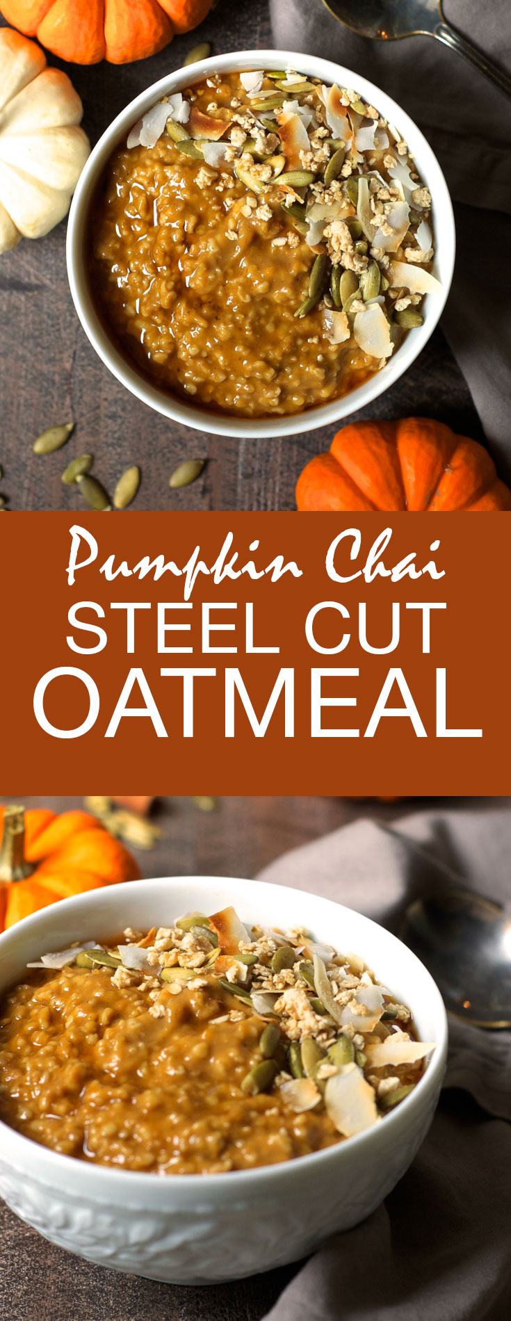 This gluten-free, vegan Pumpkin Chai Steel Cut Oatmeal is bursting with the warm, spicy flavors of fall!