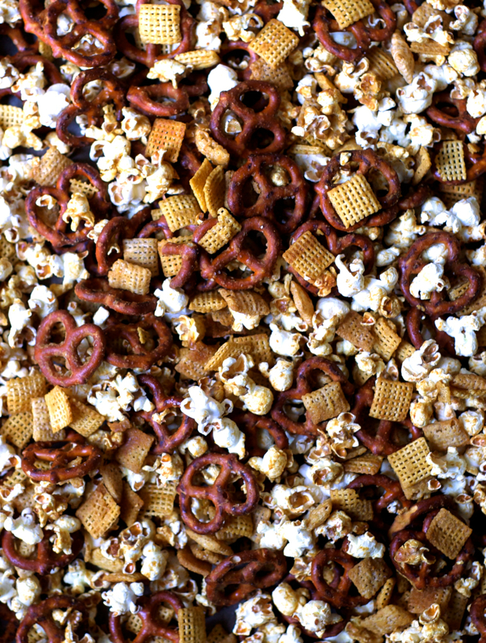 Salty Sweet Honey Mustard Popcorn Snack Mix