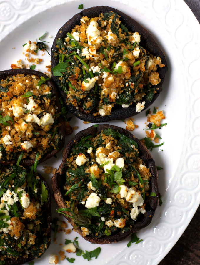 Greek Spinach and Feta Stuffed Mushrooms