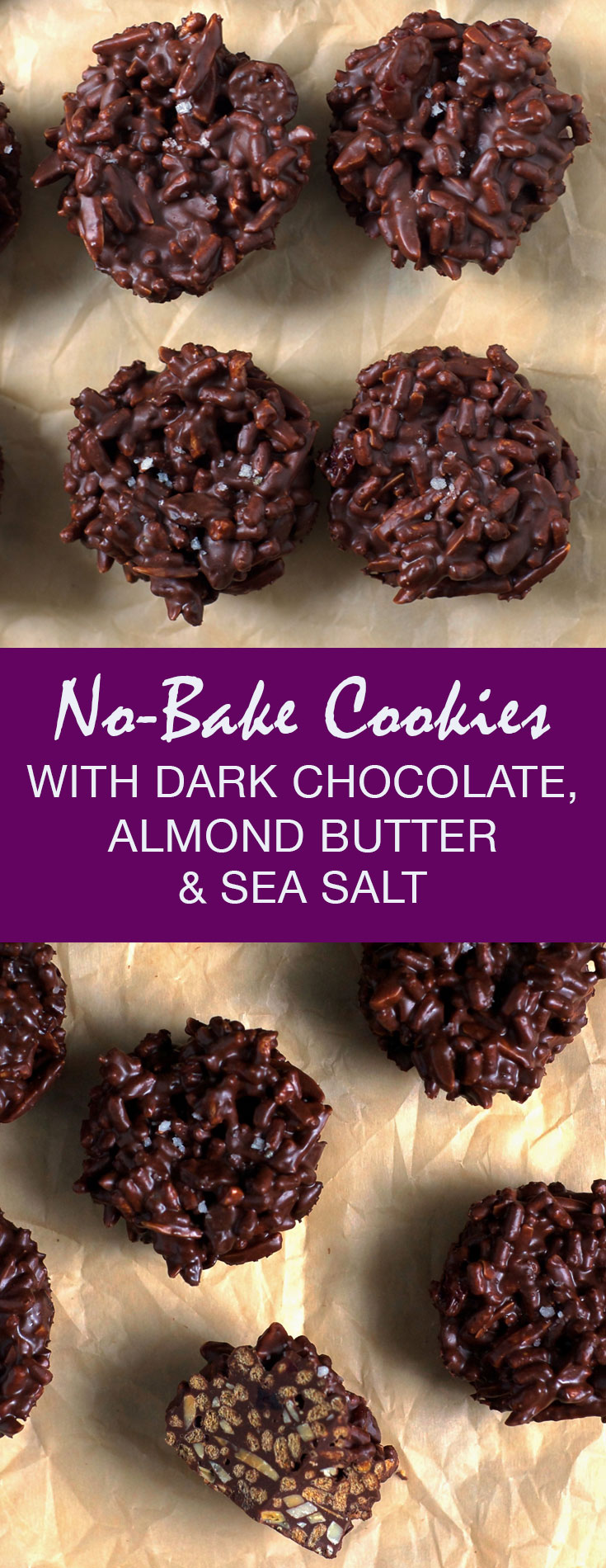 No-Bake Cookies with Dark Chocolate, Almond Butter & Sea Salt