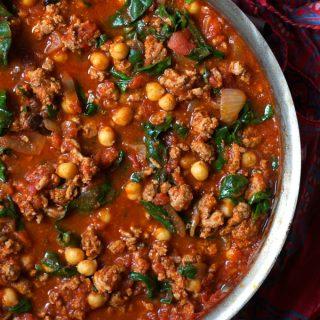 Moroccan Turkey Ragu with Chickpeas, Spinach and Raisins