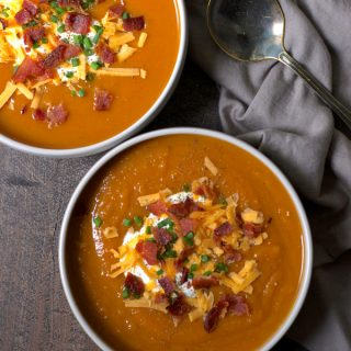 Smoky Loaded Sweet Potato Soup with Bacon
