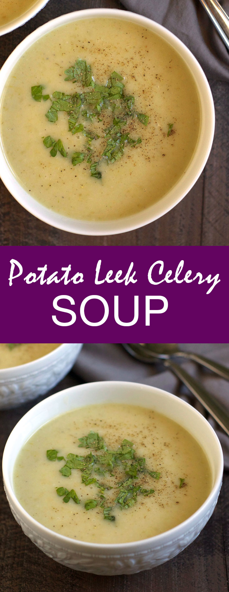 This Potato Leek Celery Soup is so creamy and comforting! Quick, simple, and freezer-friendly, it's the perfect weeknight cold weather meal.