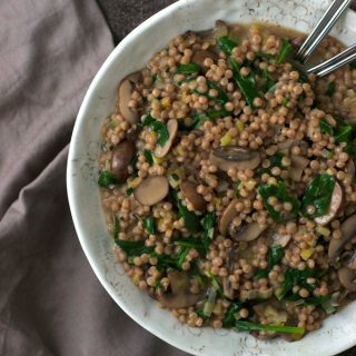 Israeli Couscous Risotto with Mushrooms and Spinach