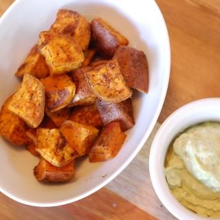 Old Bay Sweet Potatoes with Avocado Tartar Sauce