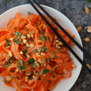 No Spiralizer Carrot Noodles with Peanut Sauce (Gluten-Free & Vegan)