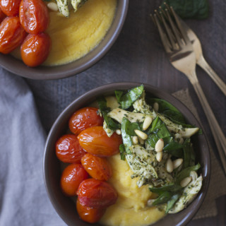 Polenta Bowls with chicken, pesto, and roasted tomatoes