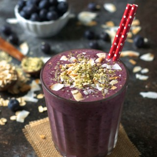 Blueberry Beet Smoothie with Hemp Seeds and Coconut