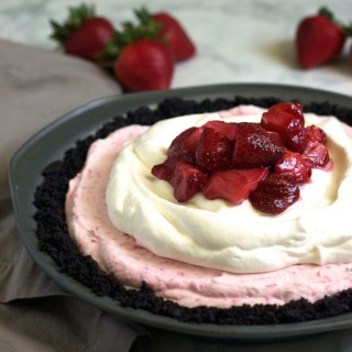 Skinny Roasted Strawberry Ice Cream Pie