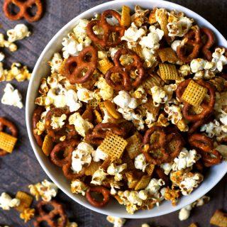 Salty Sweet Honey Mustard Popcorn Snack Mix