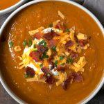 Smoky Loaded Sweet Potato Soup with Bacon